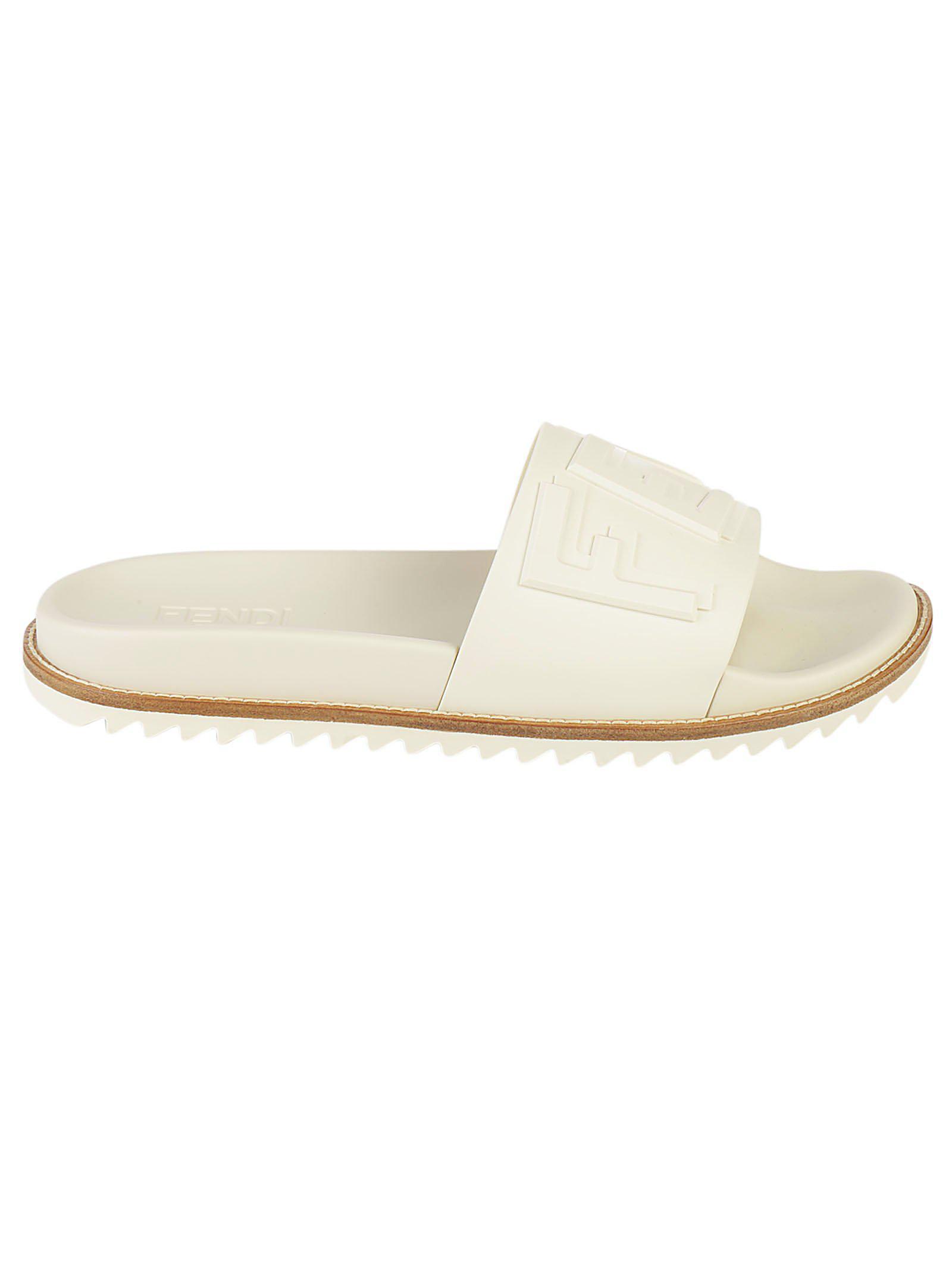 53b0dbcc9c96 Lyst - Fendi Logo Slides in White