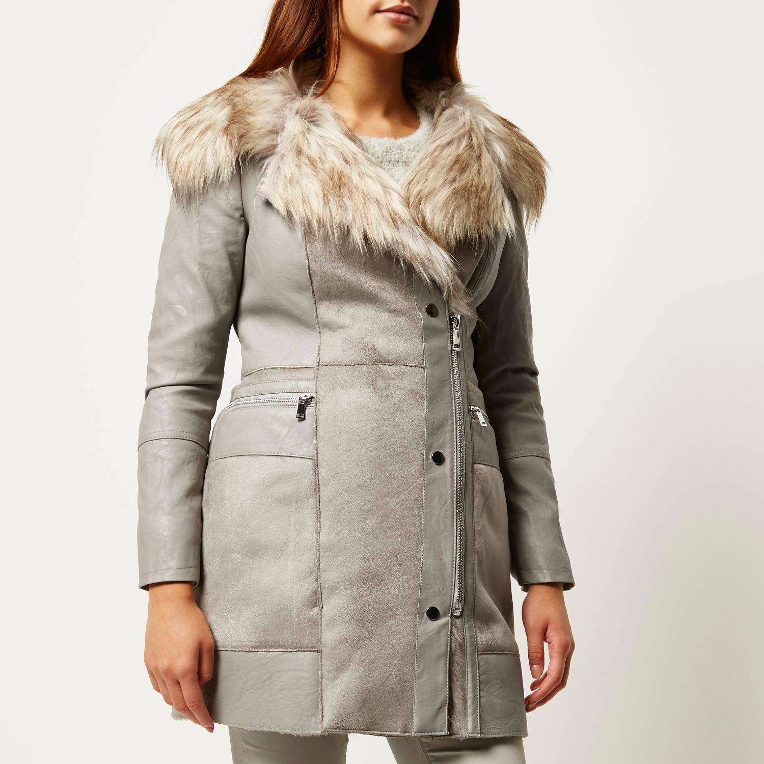 08e0d0b93eab Lyst - River Island Grey Leather-look And Faux Suede .