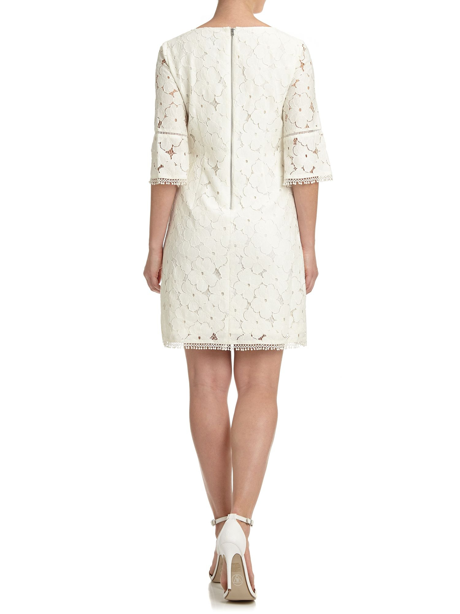 Adrianna Papell Short 3 4 Sleeve Lace Dress In White Lyst