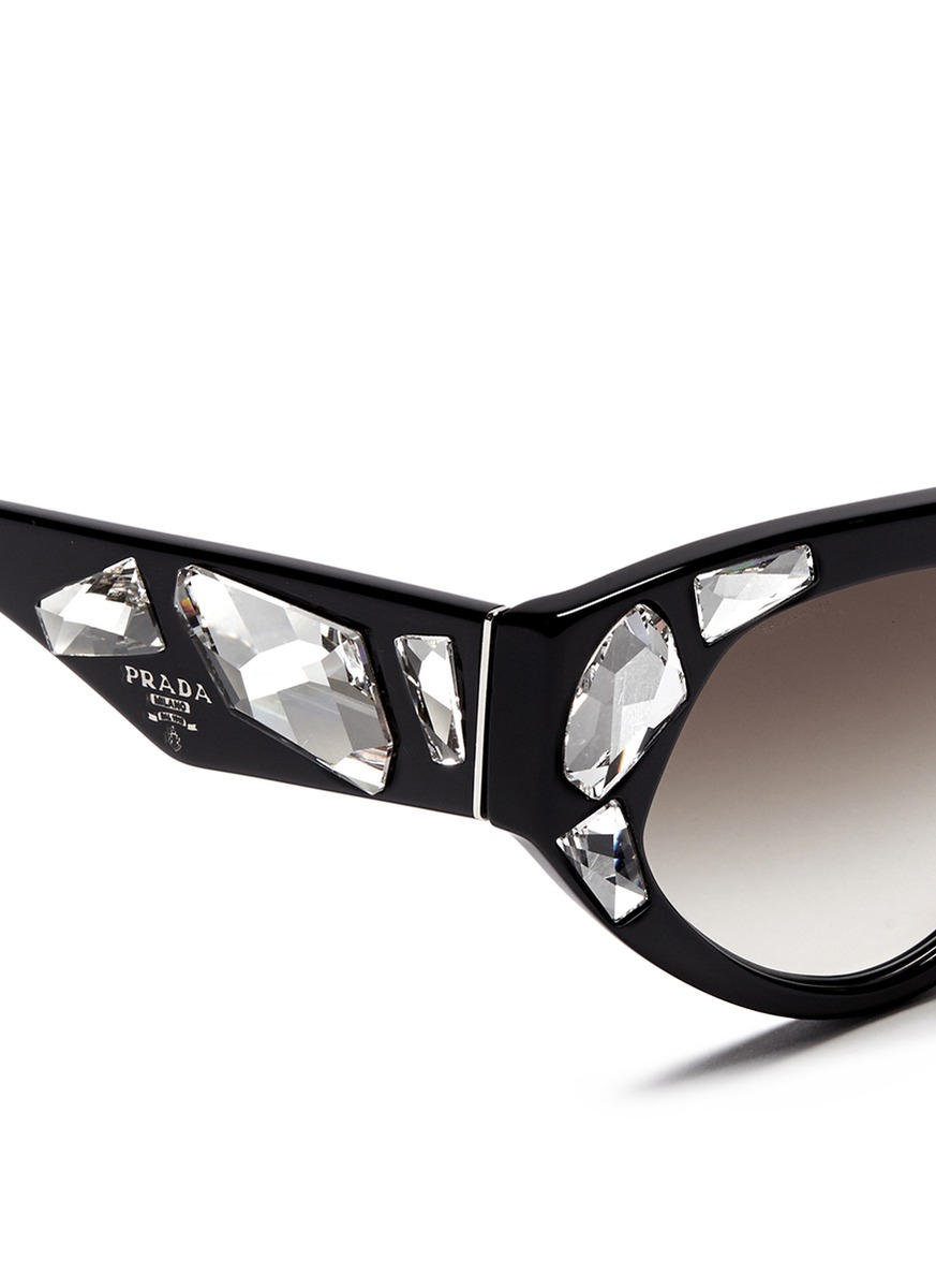 a4ecb6d37014 ... closeout lyst prada voice crystal cat eye acetate sunglasses in black  cde7d 1e057
