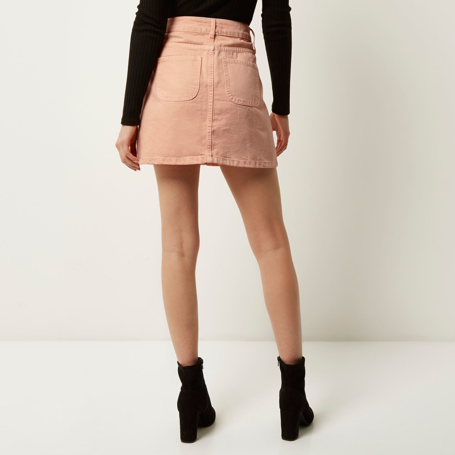 d7250a03a2e River island Pink Denim Button-up A-line Skirt in Pink