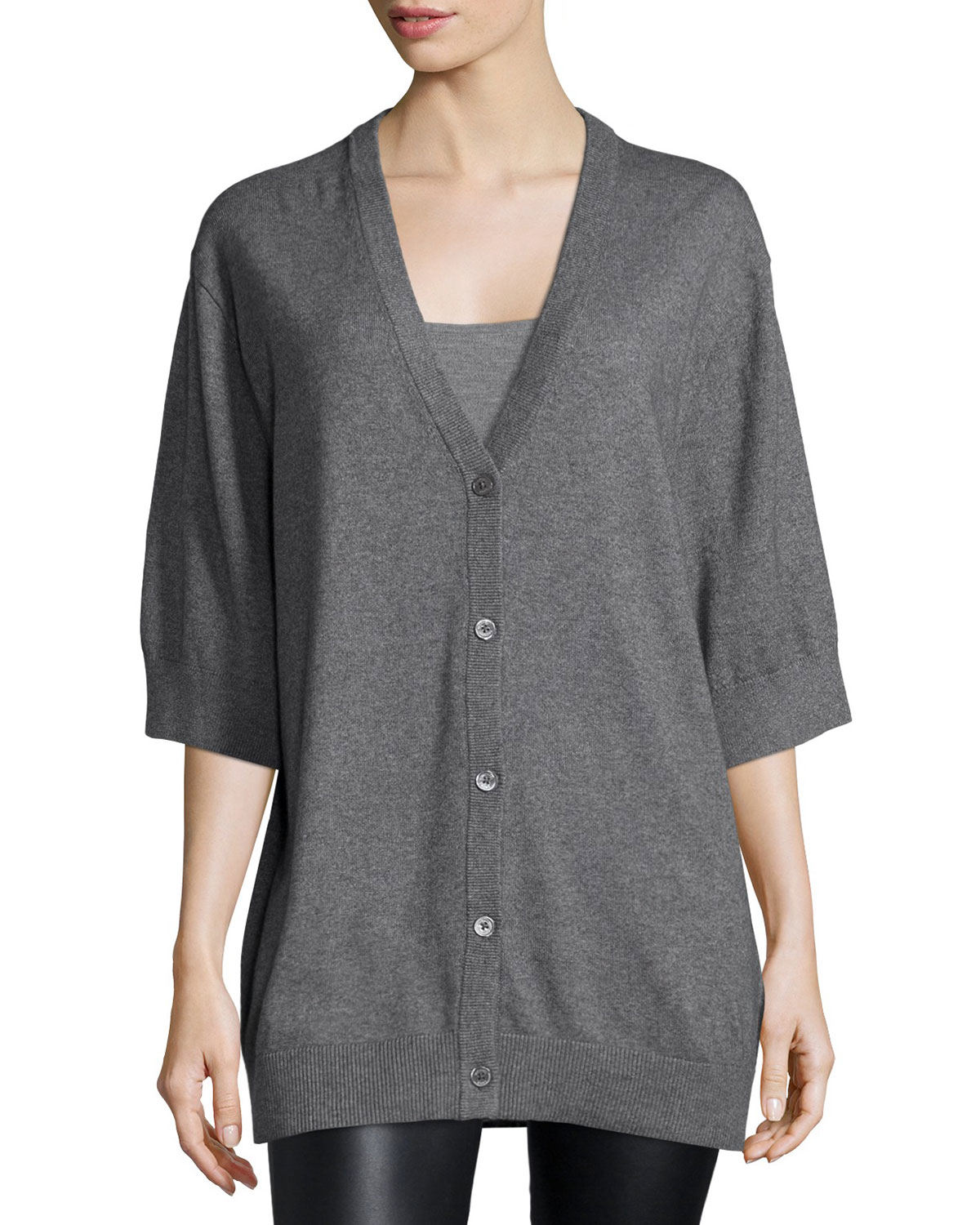 Michael kors Short-sleeve Button-front Cardigan in Gray | Lyst