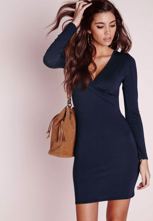 Missguided Long Sleeve Wrap Jersey Dress Navy in Blue | Lyst