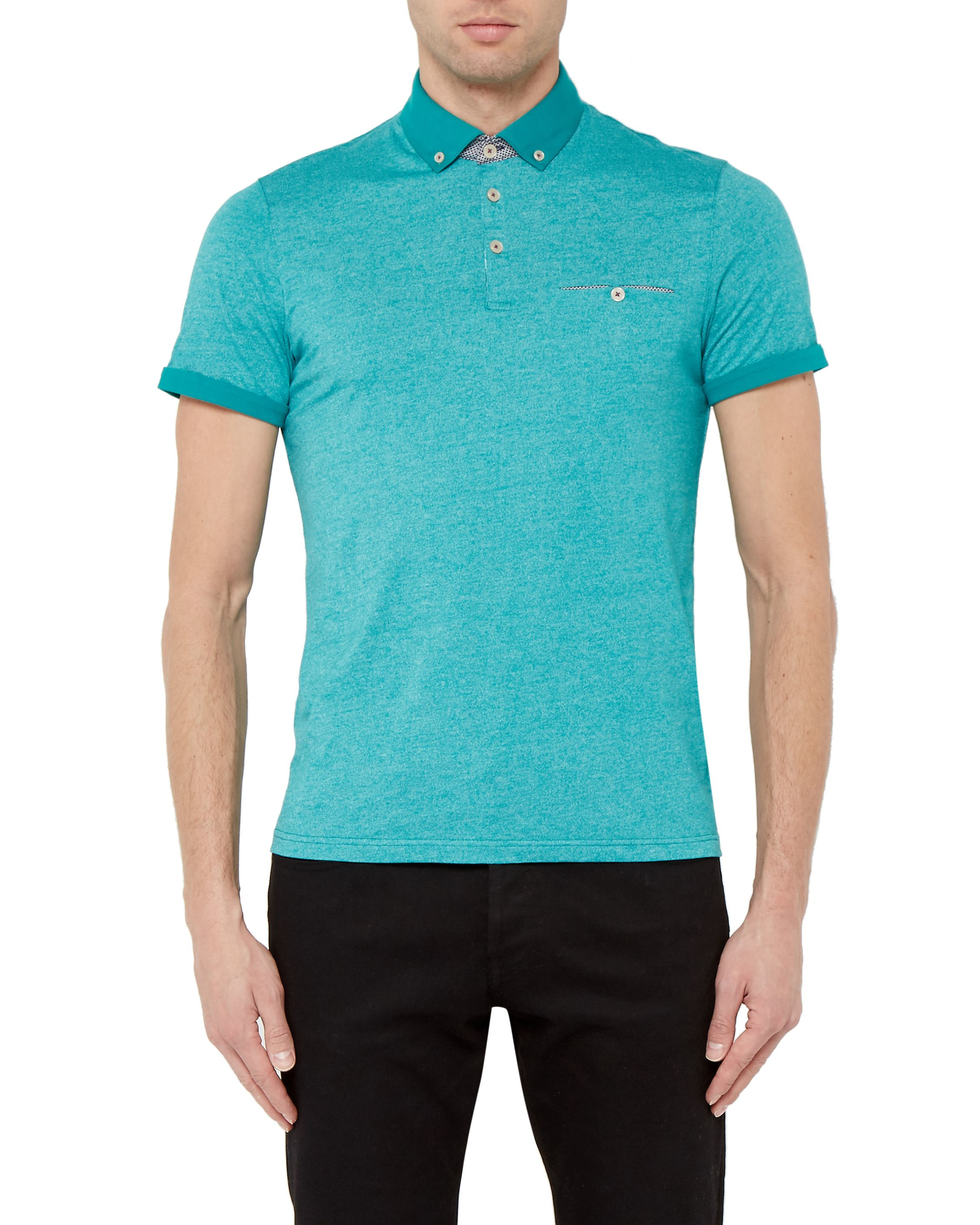 Ted baker gangnam rolled cuff cotton polo shirt in blue for Mint color polo shirt