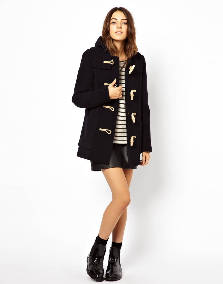 Navy Blue Duffle Coat Womens