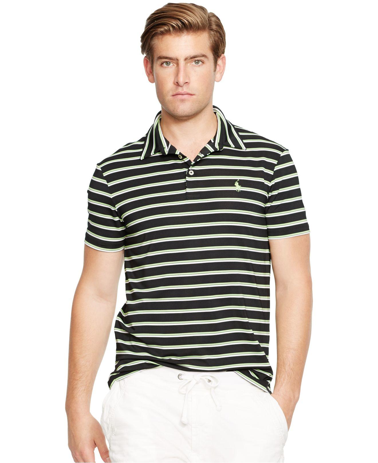 219fda08e1e ... usa lyst polo ralph lauren striped performance lisle polo shirt in  07aeb 6a19d