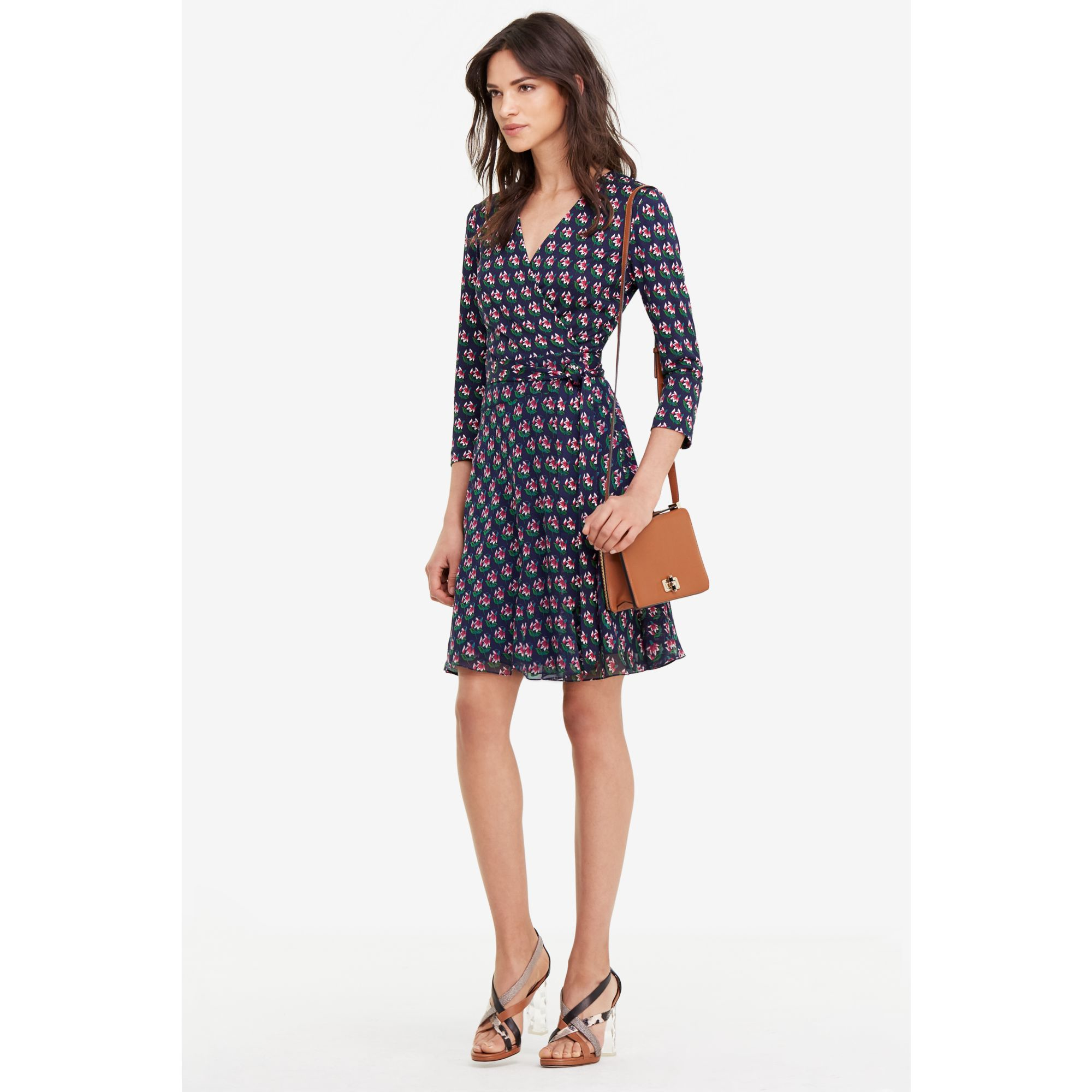 Diane von furstenberg Irina Silk And Chiffon Combo Wrap Dress in ...