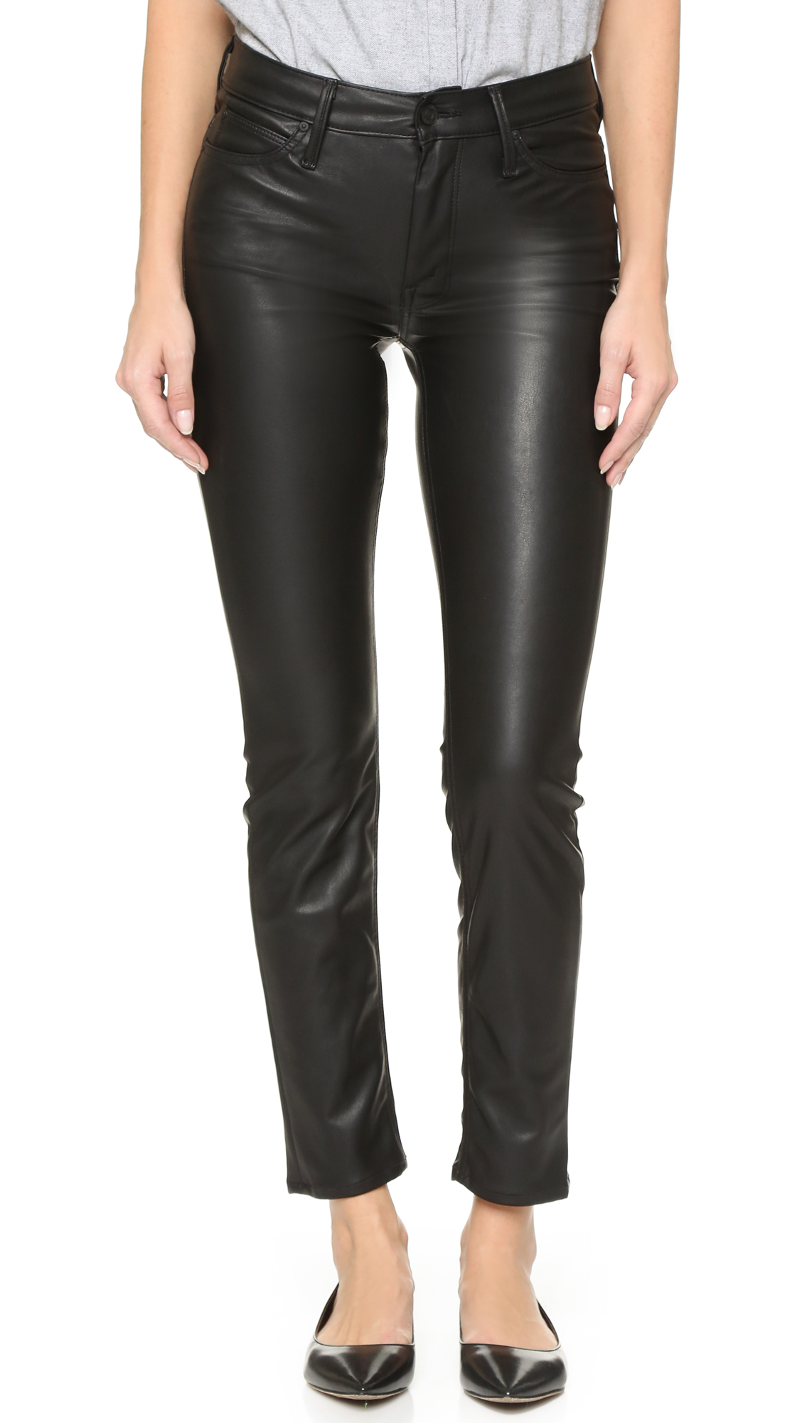 Lyst Mother The Muse Vegan Leather Pants In Black