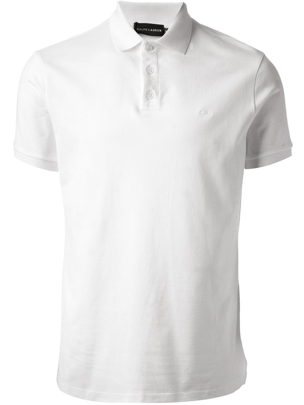 Ralph lauren logo polo shirt in white for men lyst for Ralph lauren logo shirt