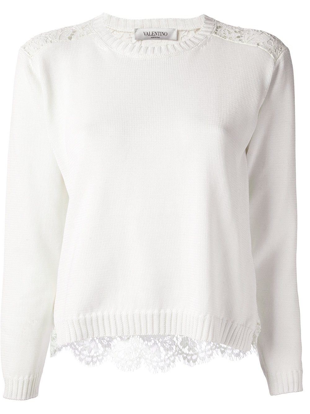 Valentino Lace Panel Sweater in White | Lyst