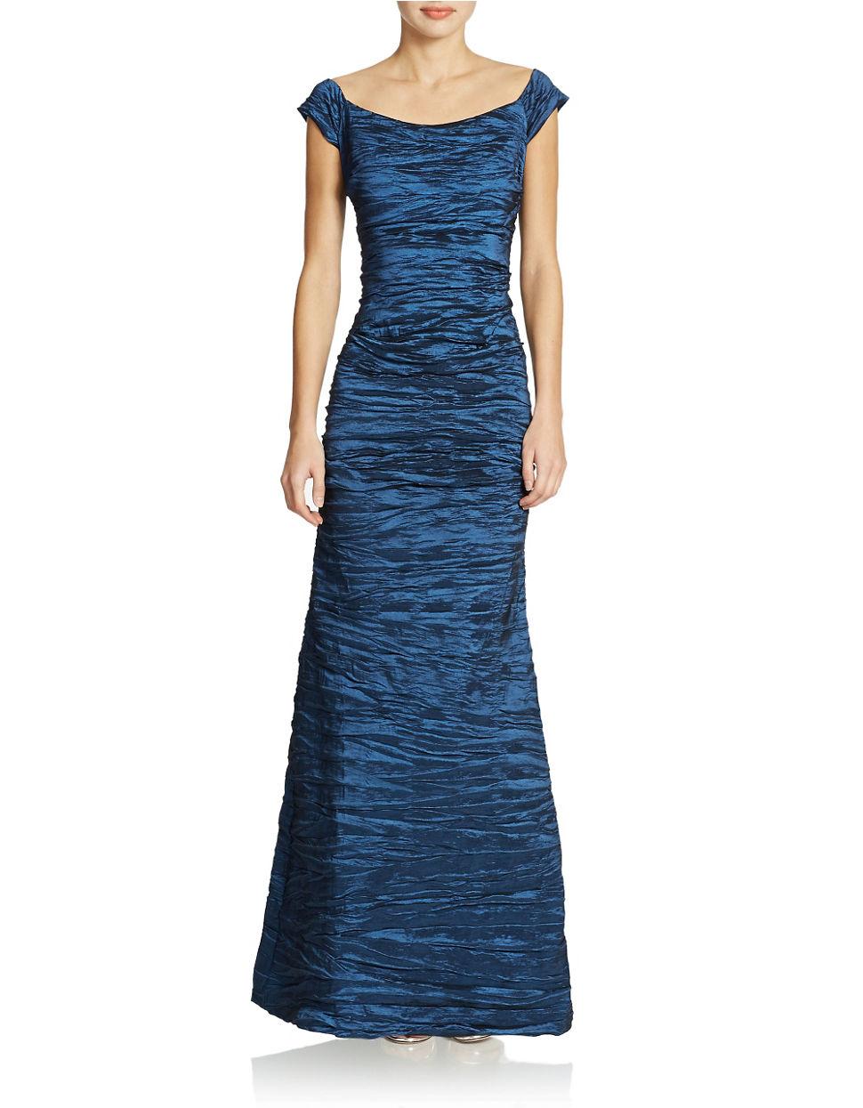 85e0a4dc53b Lyst - Alex Evenings Long Off The Shoulder Stretch Taffeta Dress in Blue