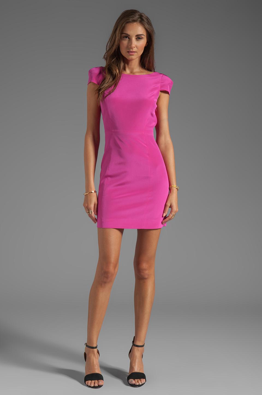 Lyst Tibi Silk Cap Sleeve Dress In Pink In Purple