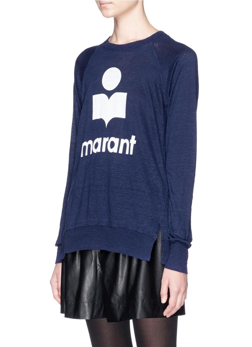 Toile Isabel Marant Logo Linen Long Sleeve T Shirt In