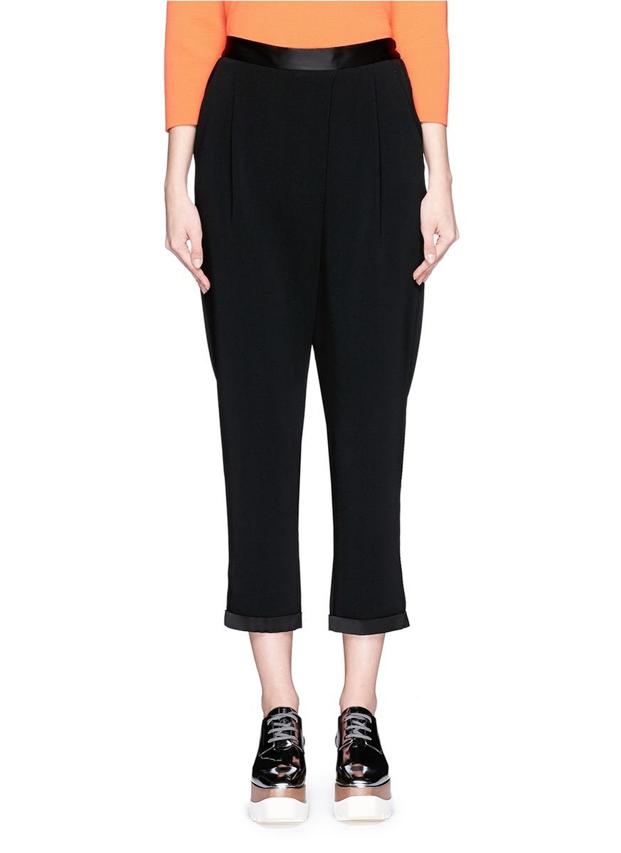 Trimmed Crotch Pics Stella Mccartney Dropped Crotch Satin Trim Cropped Pants In Black Lyst-8543