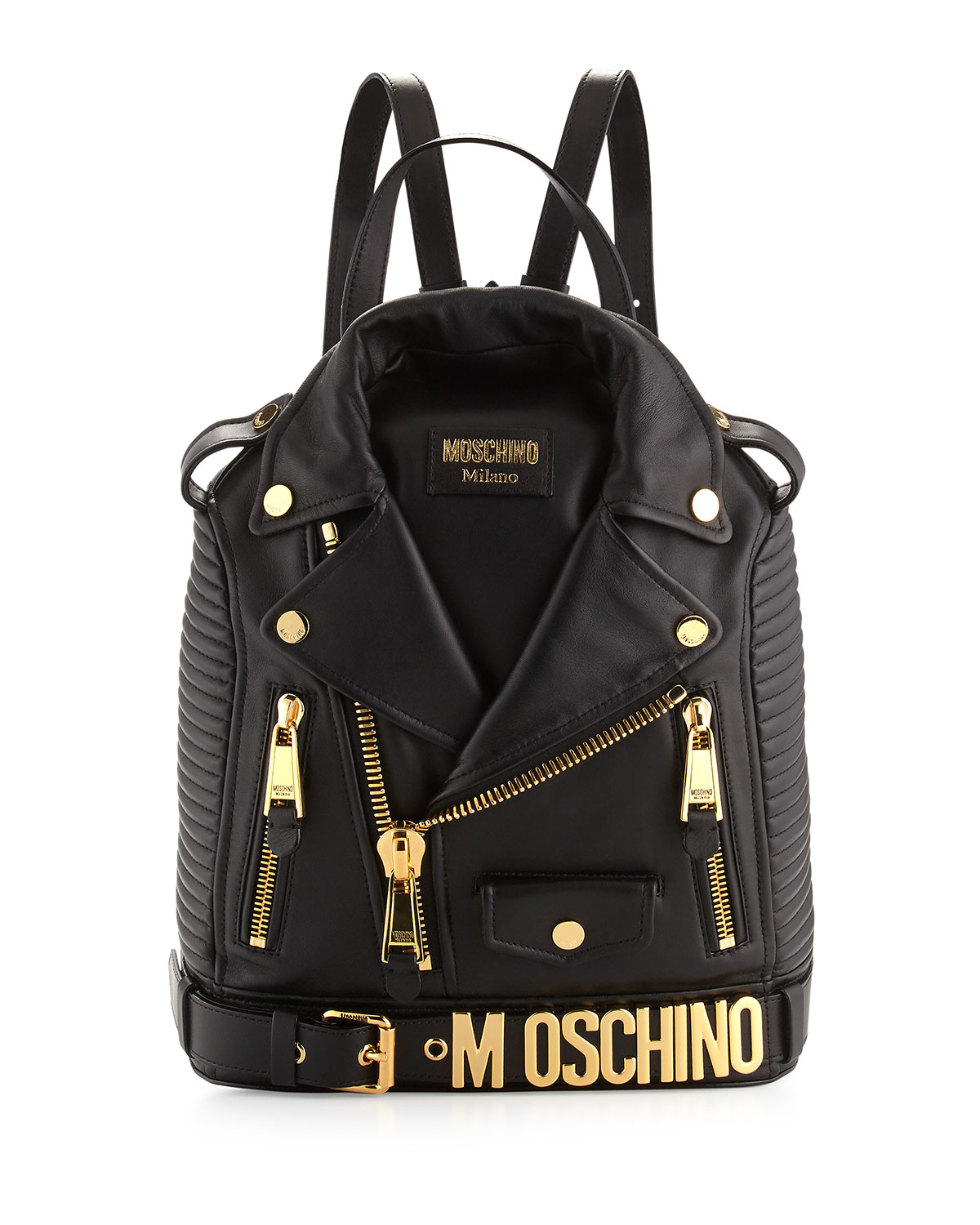 Jacket Backpack Moschino Lambskin Moto Jacket Backpack In Black Lyst