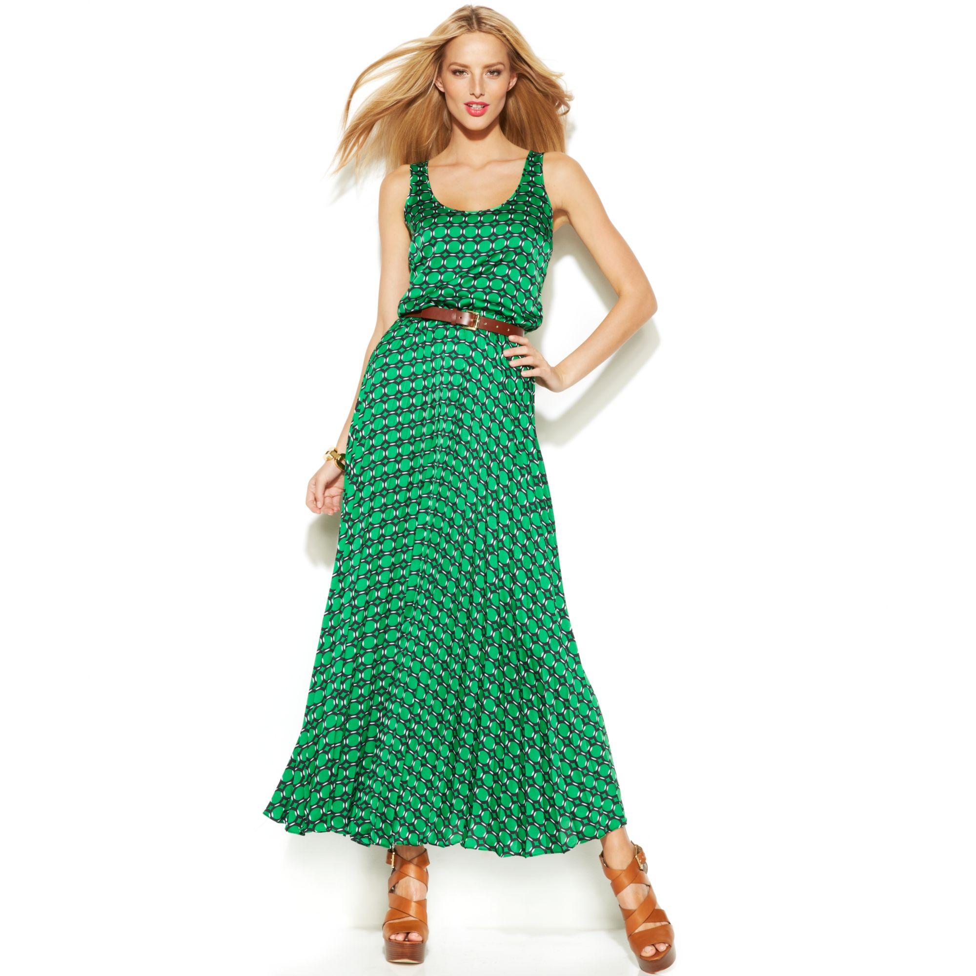 Michael kors Michael Sleeveless Printed Belted Maxi Dress