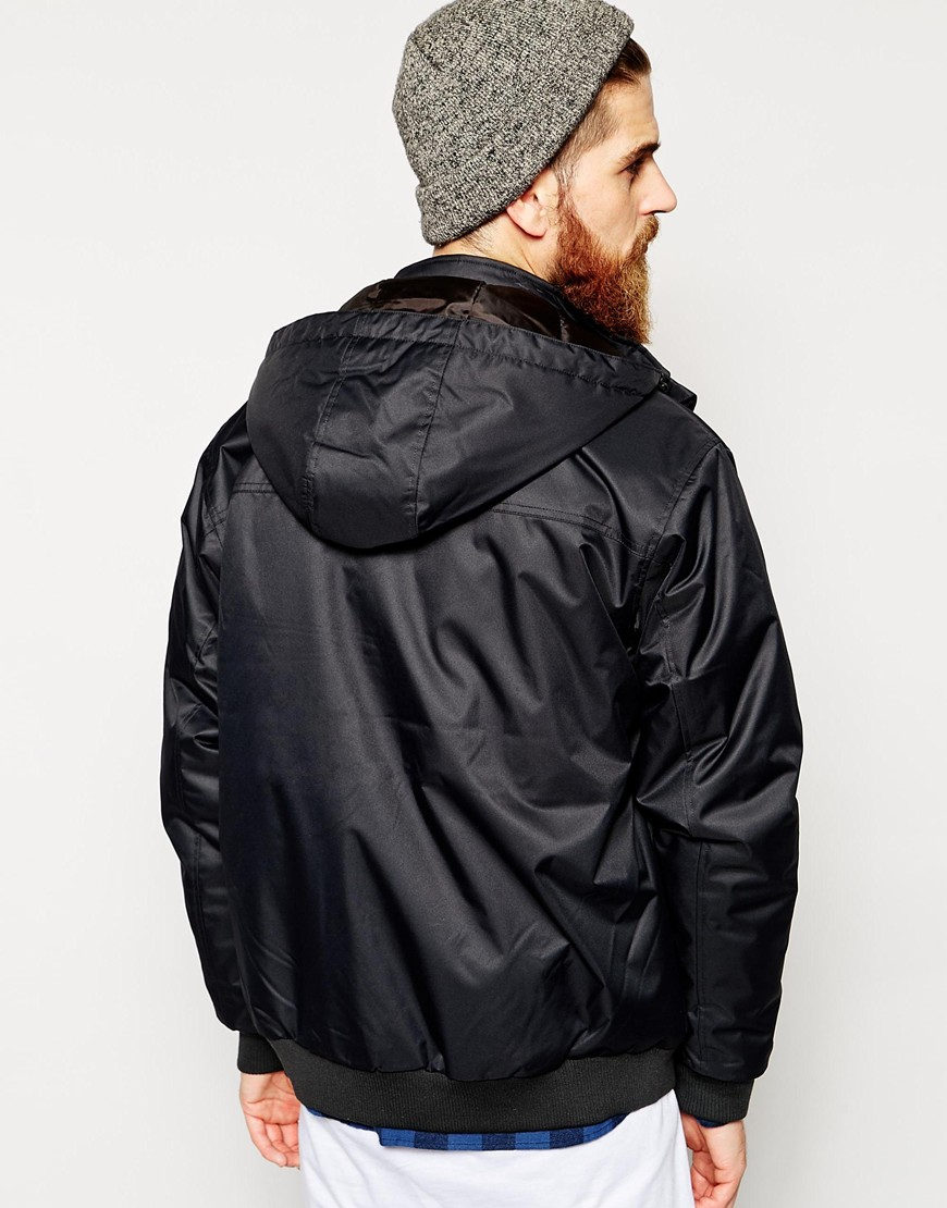Quiksilver Bomber Jacket With Hood in Black for Men | Lyst