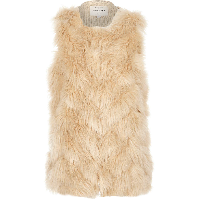 11450761 River Island Girls Cream Faux-fur Gilet in Natural - Lyst