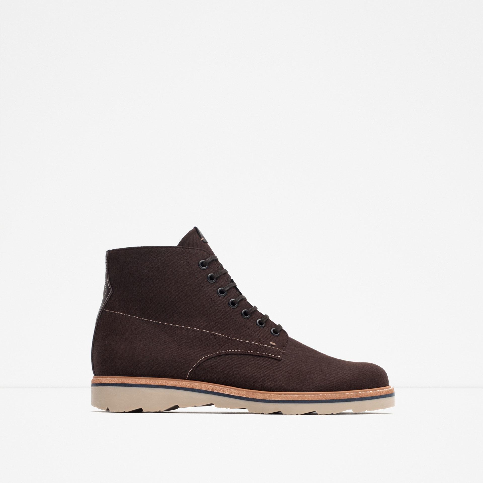 zara wedge heel boots in brown for lyst