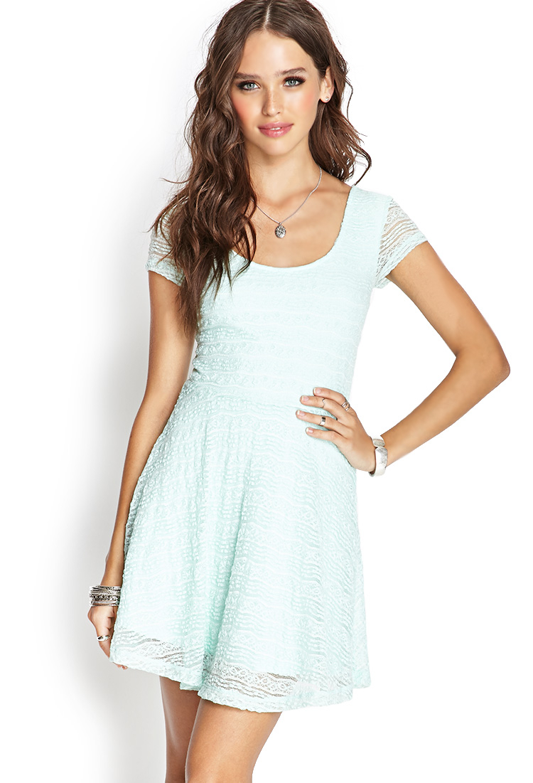 Forever 21 Lace Skater Dress in Blue | Lyst