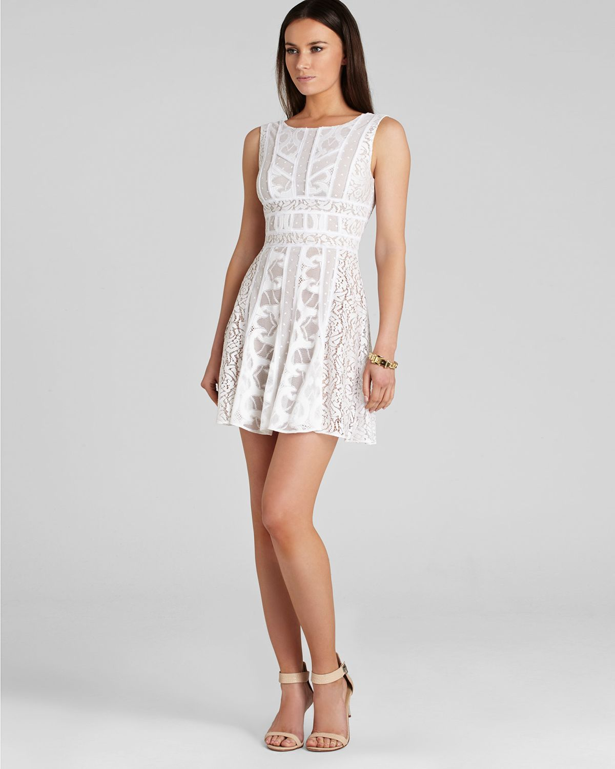 Lyst - Bcbgmaxazria Kelley Sleeveless Dress with Lace ...