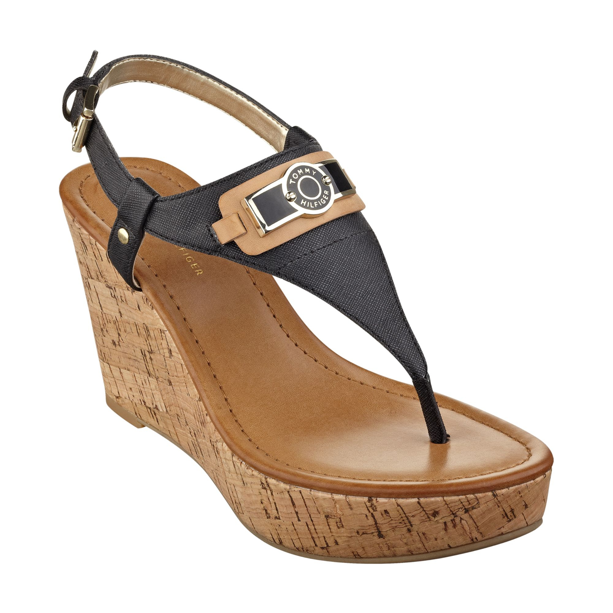 tommy hilfiger womens monor platform wedge thong sandals in black lyst. Black Bedroom Furniture Sets. Home Design Ideas