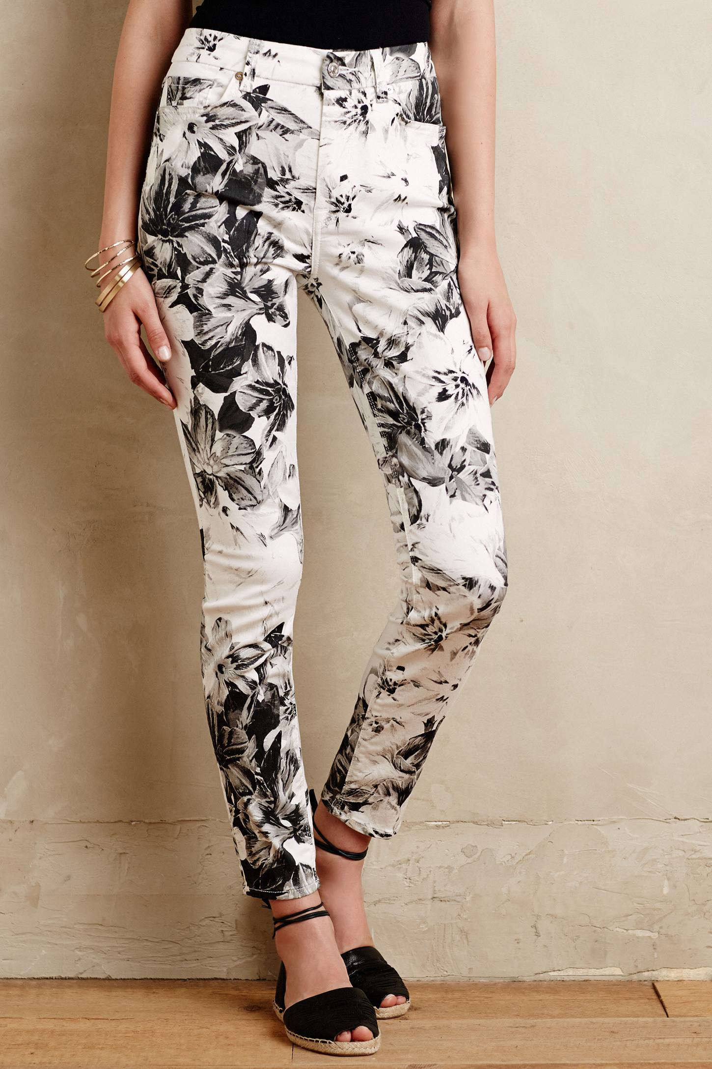 7 for all mankind X-ray Floral Jeans in Black | Lyst