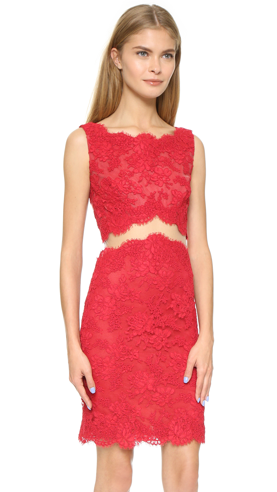Lyst - Reem Acra Re-embroidered Sheath Dress - Red in Red