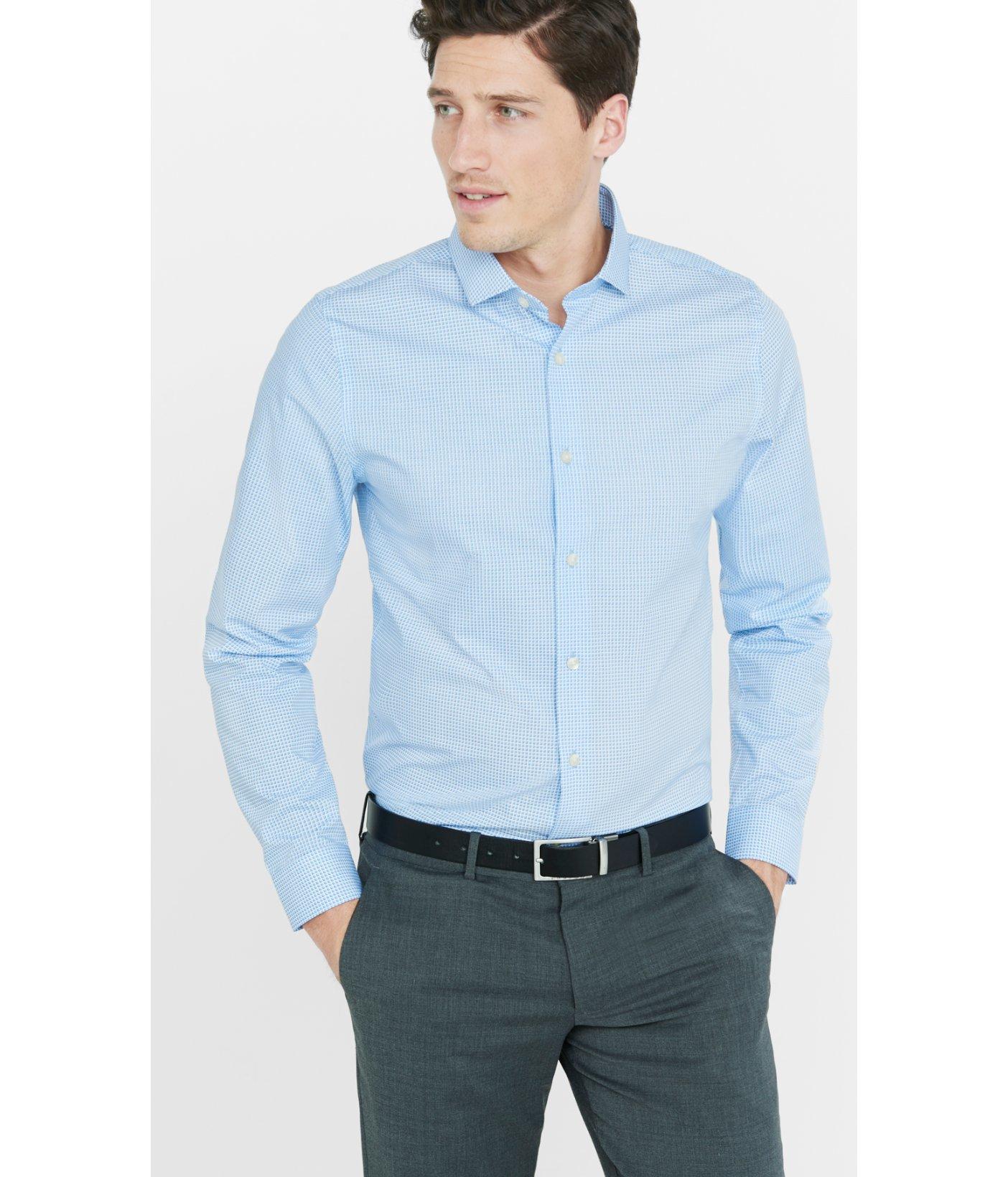 Lyst Express Slim Micro Cube Print Dress Shirt In Blue For Men