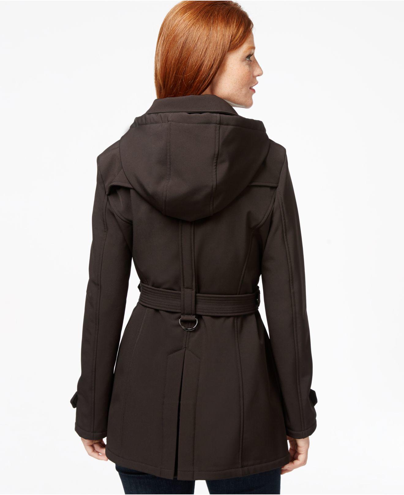 Michael Kors Michael Hooded Softshell Rain Jacket In Black