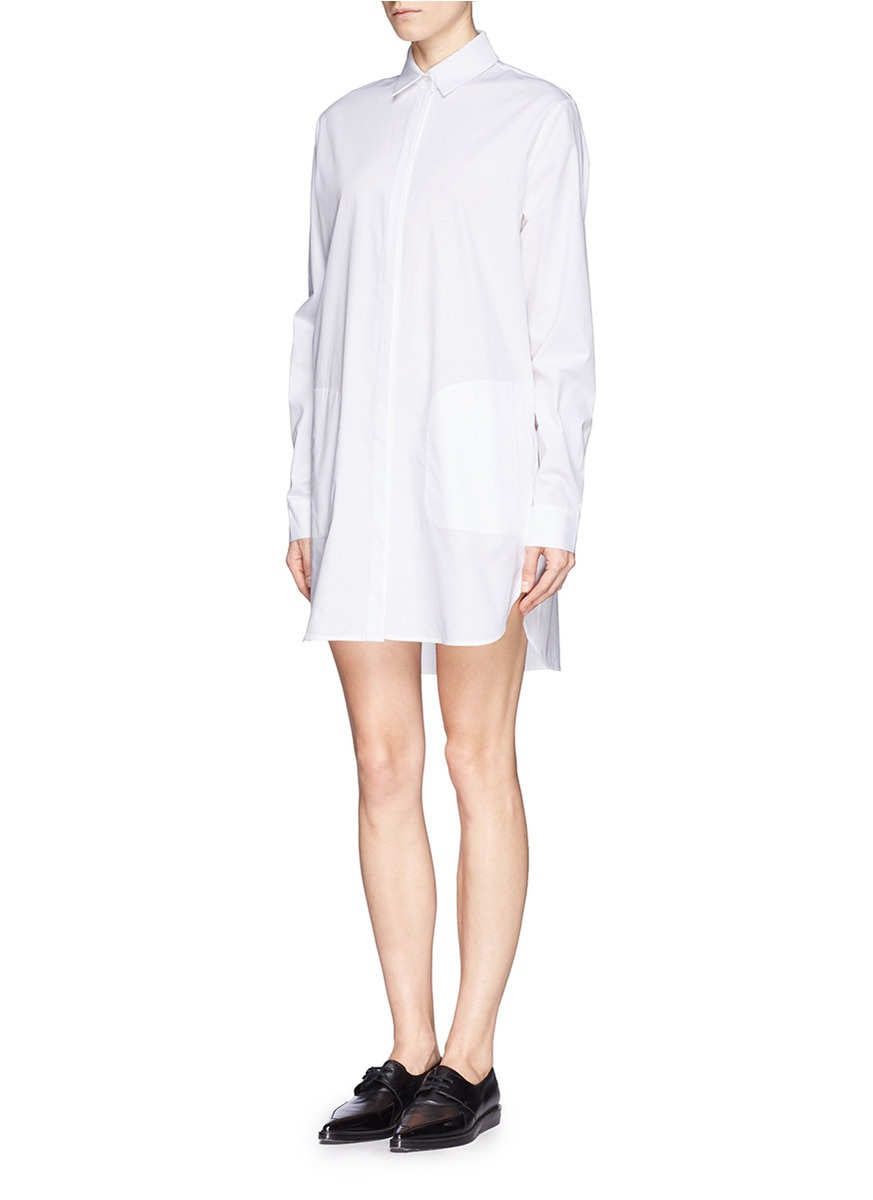 Lyst T By Alexander Wang Cotton Poplin Shirt Dress In White