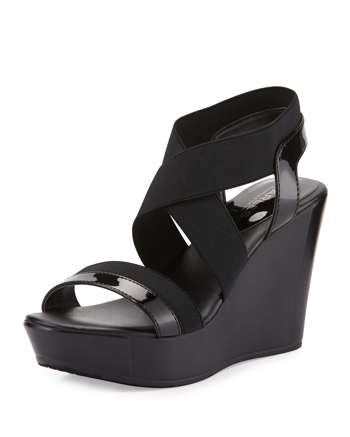 d63b36e2f7d Lyst - Charles David Feature Elastic Wedge Sandal in Black