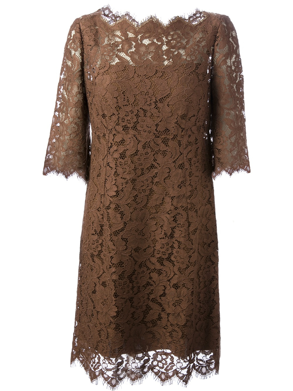 Dolce Amp Gabbana Lace Shift Dress In Brown Lyst