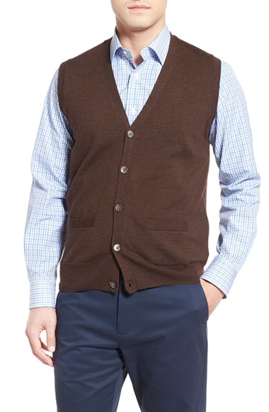 Lyst Brooks Brothers Button Front Wool Sweater Vest In Brown For Men