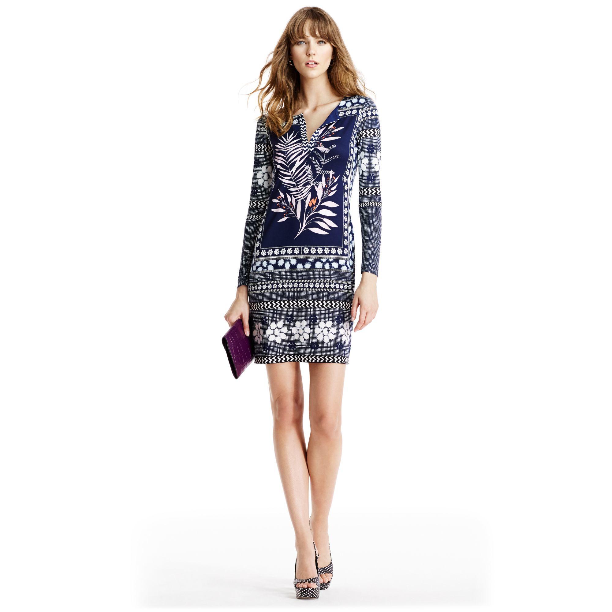 Diane von furstenberg Reina Long Silk Jersey Tunic Dress in Blue ...