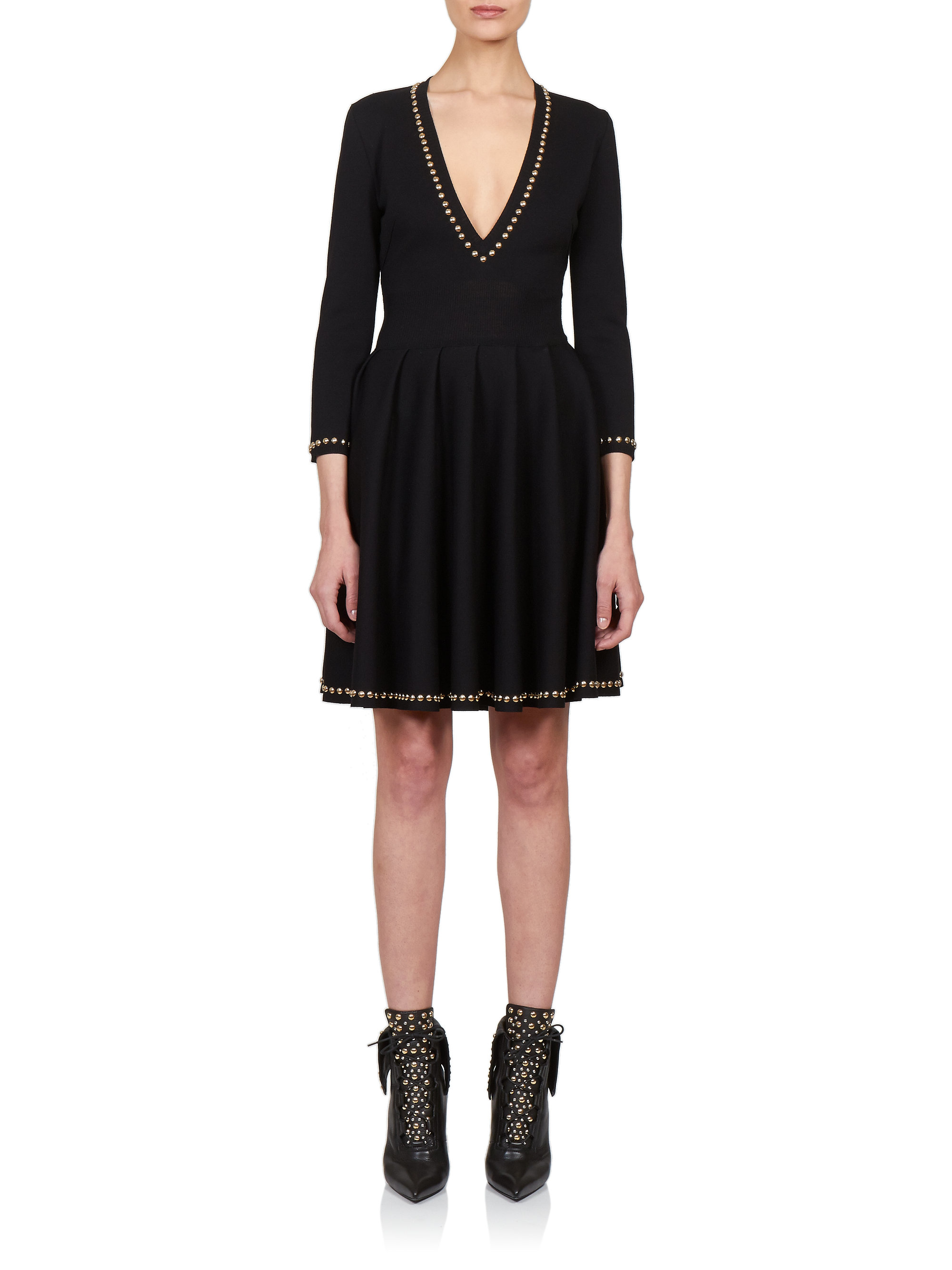Lyst Givenchy Stud Trim Knitted Dress In Black