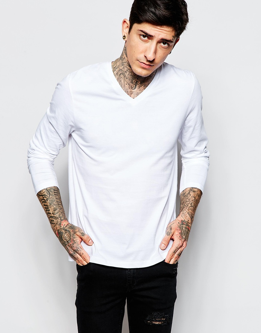 Asos long sleeve t shirt with v neck in white for men lyst Mens long sleeve white t shirt