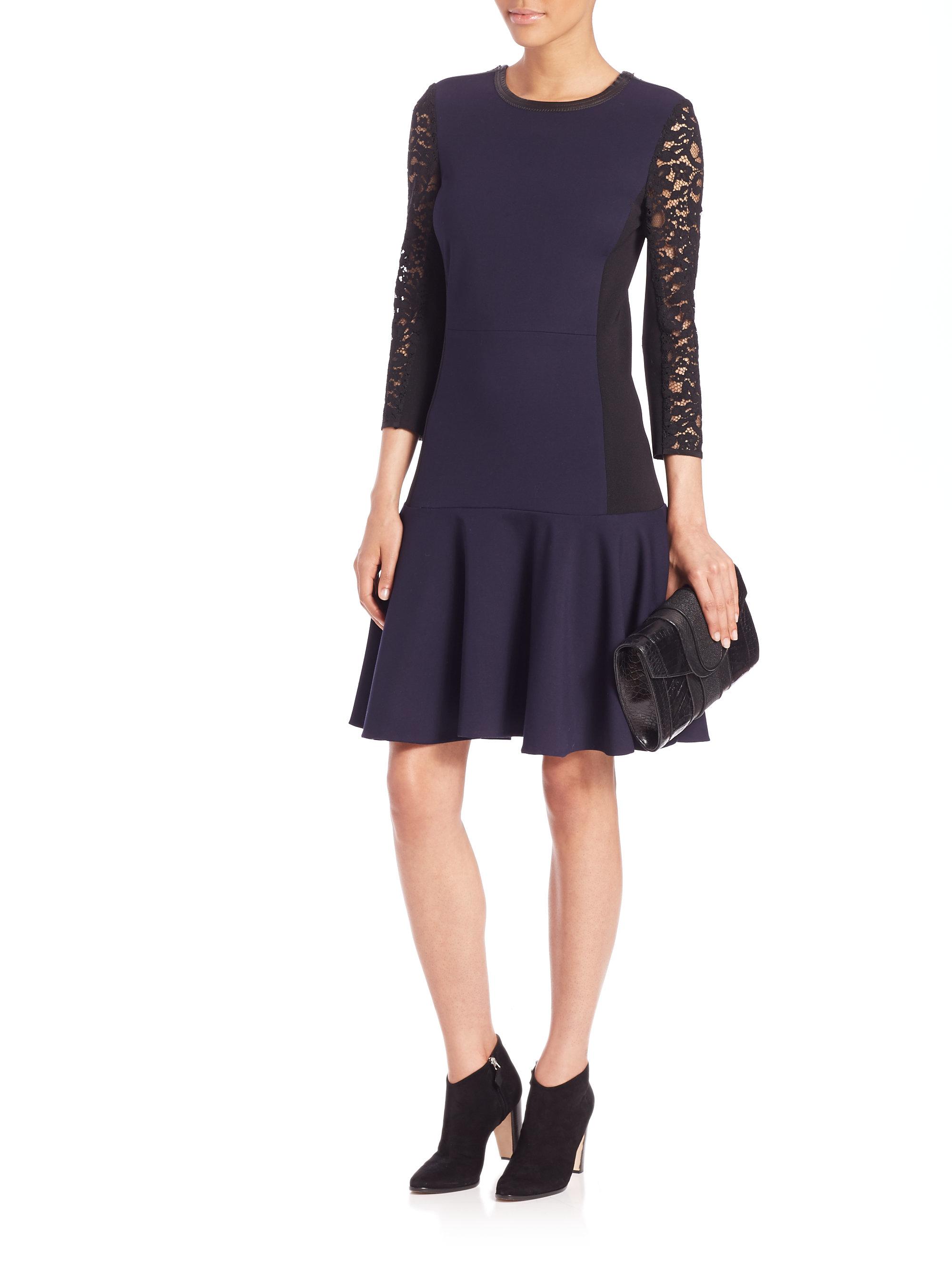Rebecca Taylor Ponte Drop Waist Lace Sleeve Dress In Blue