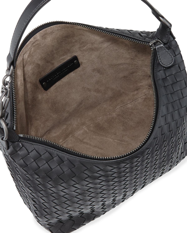 ed77465797c1 Lyst - Bottega Veneta Small Zip Hobo Bag in Black