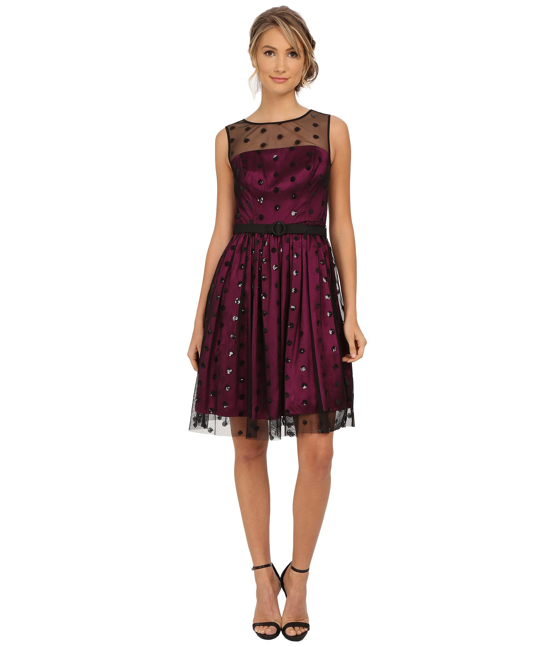 Eliza J Sequin Dot Mesh Overlay Dress In Purple Lyst