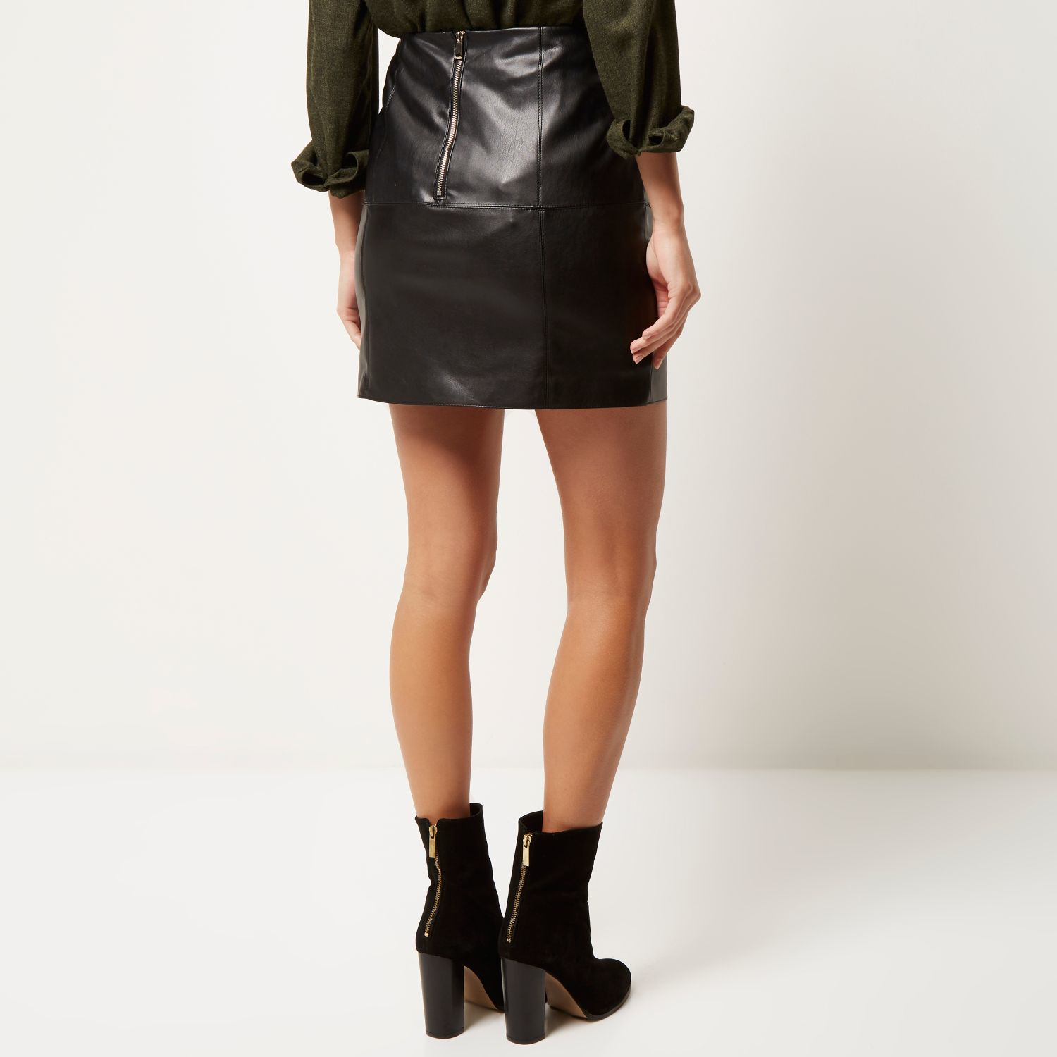 79df95d63 River Island Black Leather-look Mini Skirt in Black - Lyst