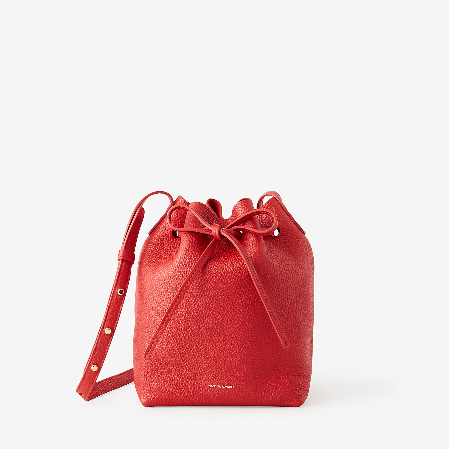 mansur gavriel mini tumbled leather bucket bag in red. Black Bedroom Furniture Sets. Home Design Ideas