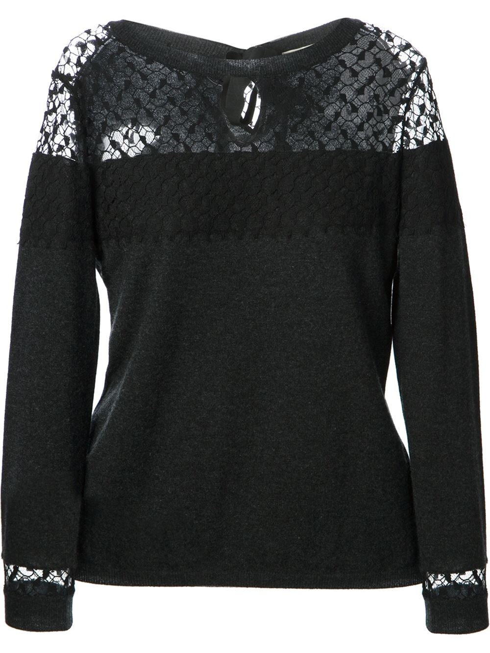 Nina ricci Lace Panel Sweater in Gray | Lyst