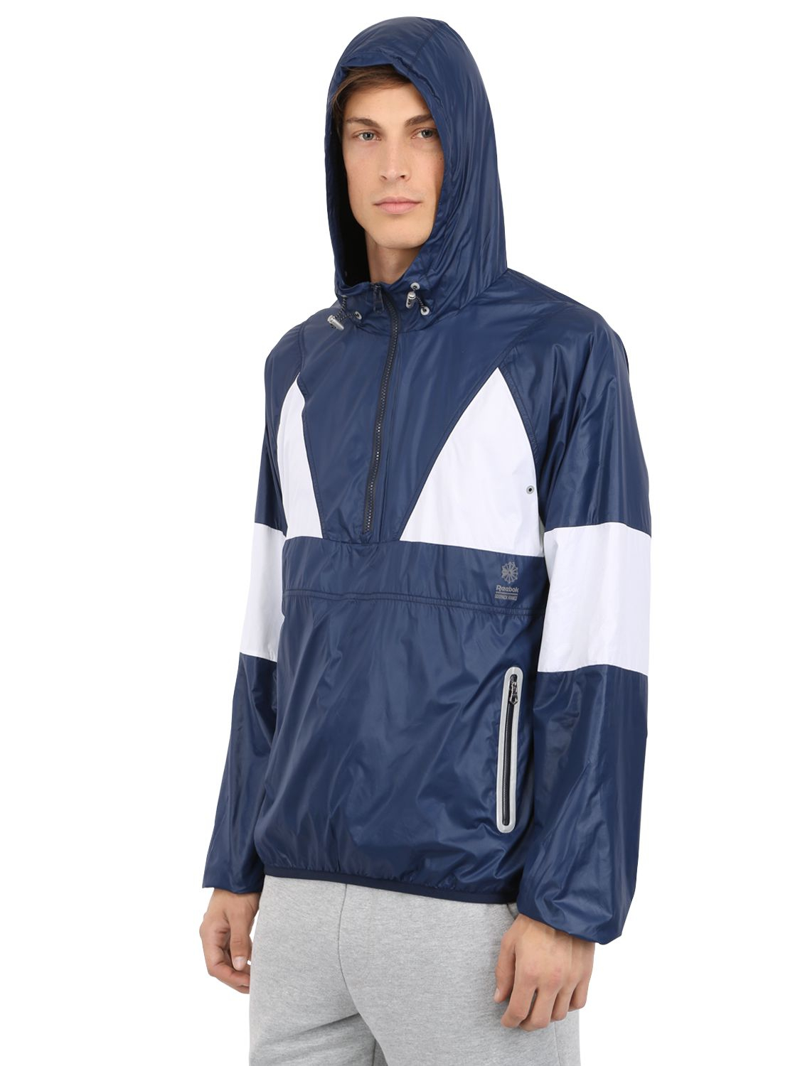 Reebok Sixpack France Nylon Windbreaker Jacket in Blue for Men | Lyst