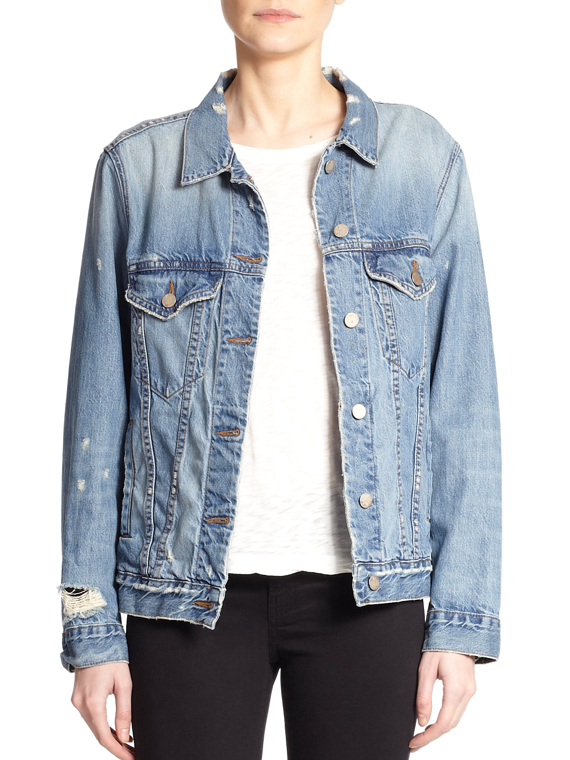 The Rough 'N Tumble Jacket comes in light wash denim and features a relaxed silhouette, snap closures and four pockets at front, and distressed detailing. Details and Care Fabric: % Cotton, Exclusive Of Trims.