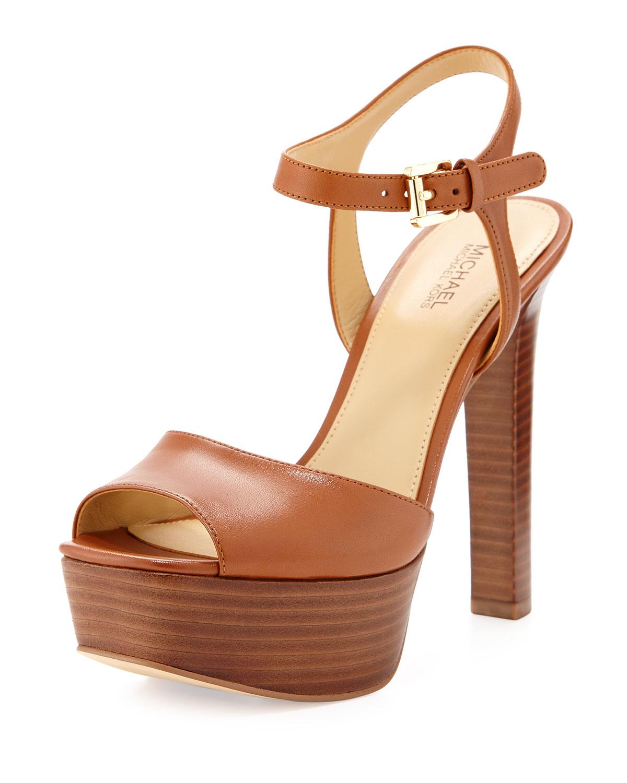 5bd6eb7d280 Lyst - MICHAEL Michael Kors Trish Leather Platform Sandal in Brown