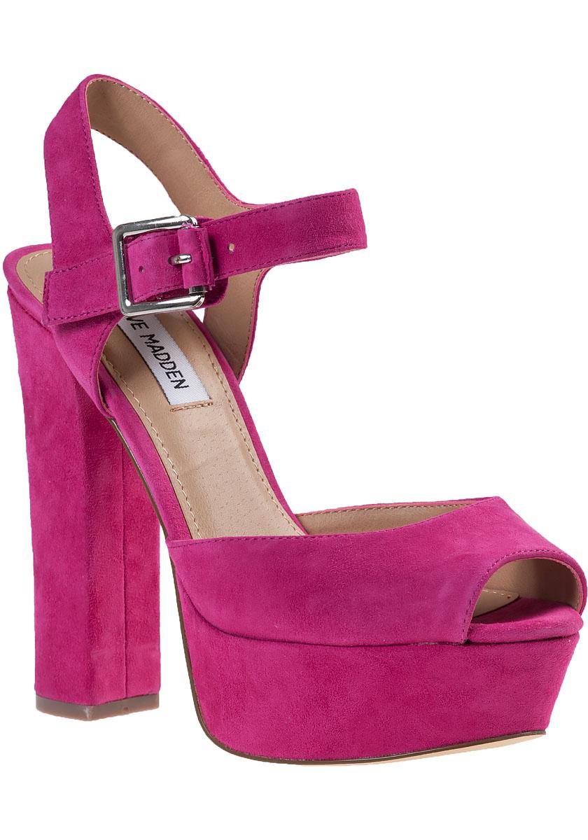 c84bd9c62e6f6 Lyst - Steve Madden Jillyy Platform Sandal Fuchsia Suede in Purple
