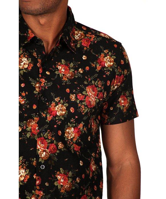 Mens black floral shirt custom shirt for Mens short sleeve floral shirt