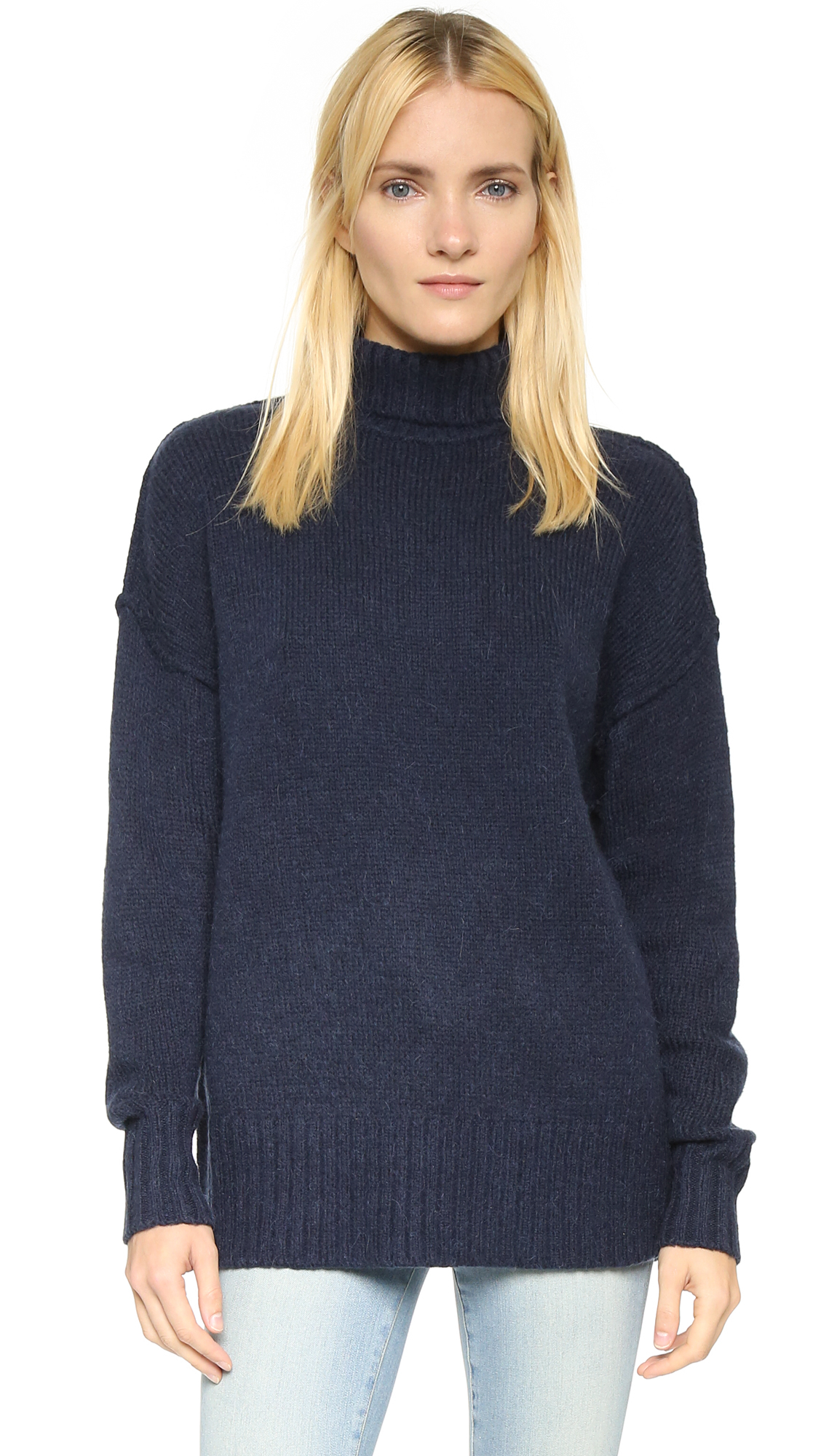 Nlst Oversized Turtleneck Sweater - Navy in Blue | Lyst