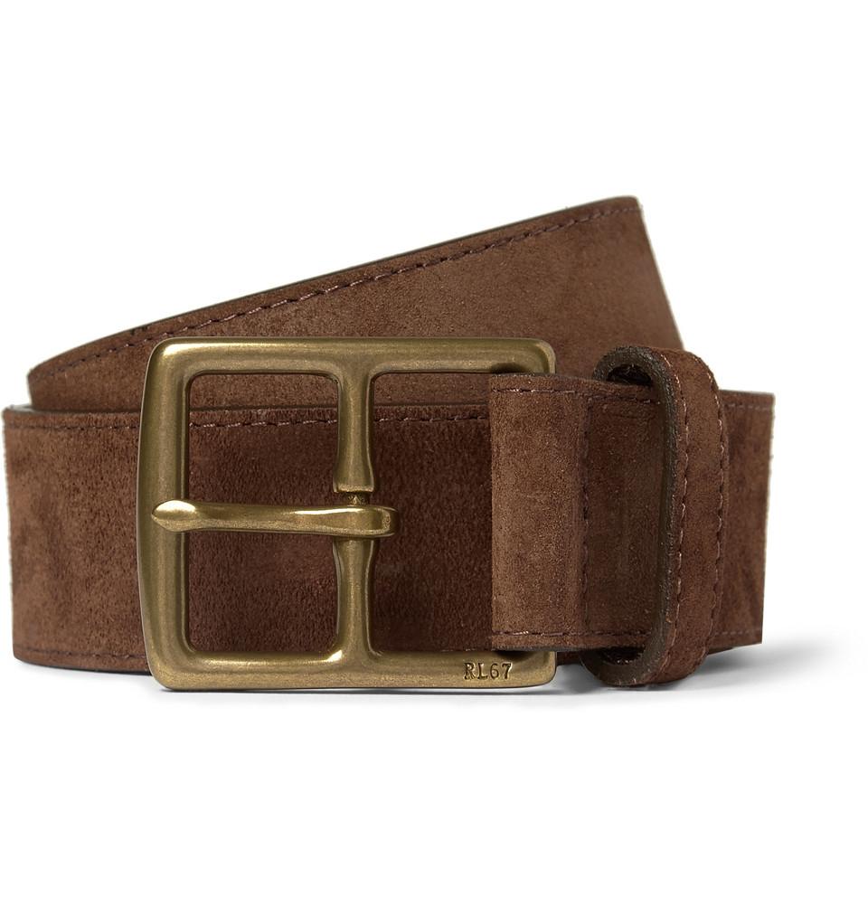 56e8e2bbd9e9c Lyst - Polo Ralph Lauren Brown 3.5Cm Suede Belt in Brown for Men